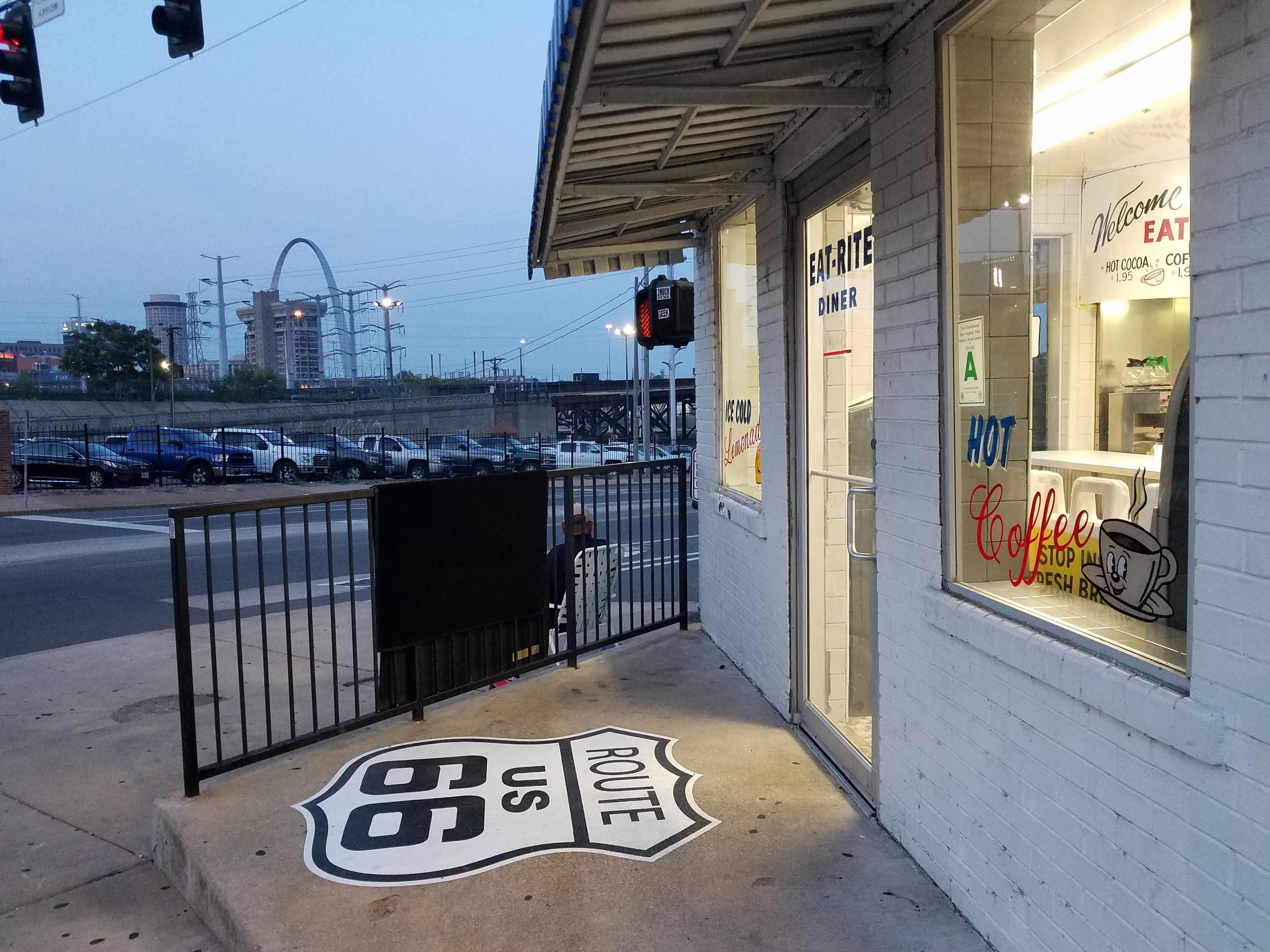 EAT-RITE Diner in St. Louis with Route 66 stencil